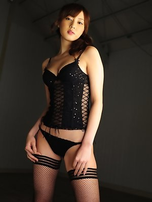 Natsuki Ikeda Asian with big boobs in corset is simply appetizing