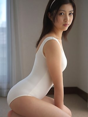 Azusa Togashi Asian doll in white bath suit wants to go outside